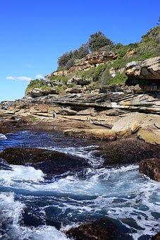Bondi Beach, Cliff, Sea, Australia, Ocean, Water