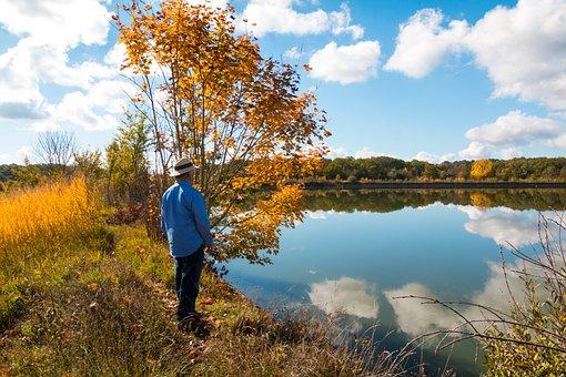 Old Man, Bank, Lake, Mirroring, Autumn, Man, Rest