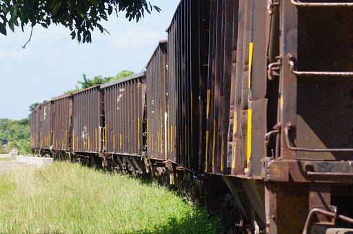 Train, Wagons, Way Of Train, Path, Stones, Metal, Angle