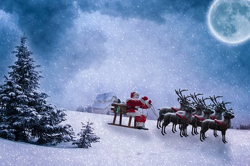 Christmas, Christmas Motif, Santa Claus, Reindeer