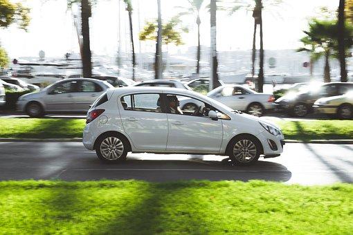 Car, Street, Traffic, Motion, Fast, Speed, White, Grass