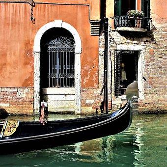 Venice, Channel, Water, Gondola, Port, Window