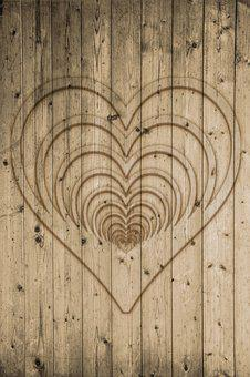 Wood, Boards, Wall, Heart, Texture, Background