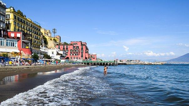 Italy, Naples, Beach, Water, Sea, Wave, Holiday