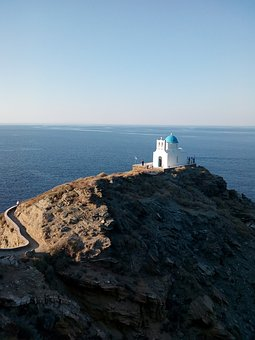 View, Chapel, Sea, Summer, Blue, Topio, Sifnos