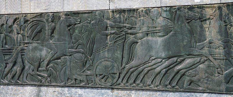 Wall, Plaque, Sculpture, Roman, Warriors, Chariot