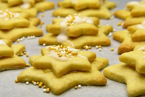 Christmas Biscuits, Star, Icing Sugar, Cookie Cutter