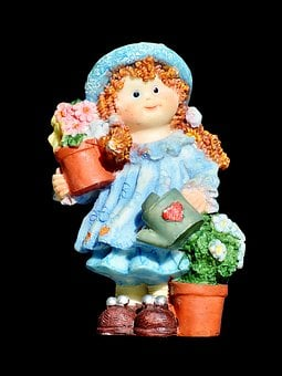 Girl, Doll, Gardener, Figure, Decoration, Sculpture