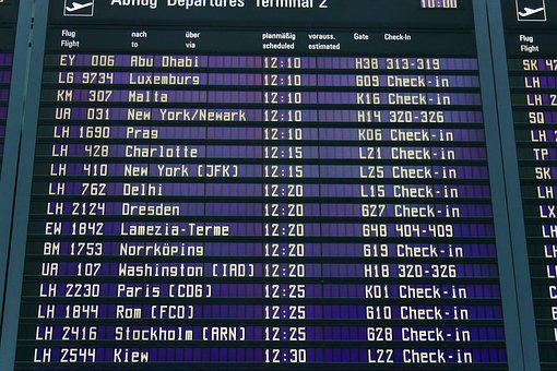 Airport, Display Panel, Departures, Erding