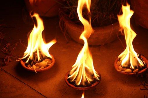Three, Diya, Light, Flame, Ignite, Fire, Burning Diya