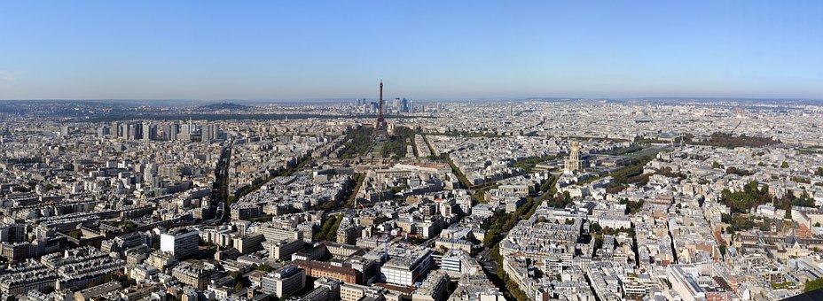 Paris, Landscape, Urban, Eiffel Tower, Aerial View