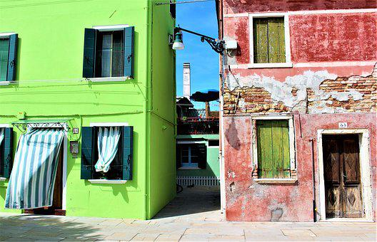Venice, Burano, Stone-built House, Facade, Buildings