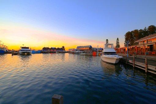 Fremantle, Fishing, Boat, Harbour, Harbor, Evening