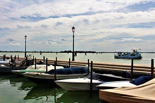 Venice, Lagoon, Boats, Sea, Water, Bridge, Pir, Boat