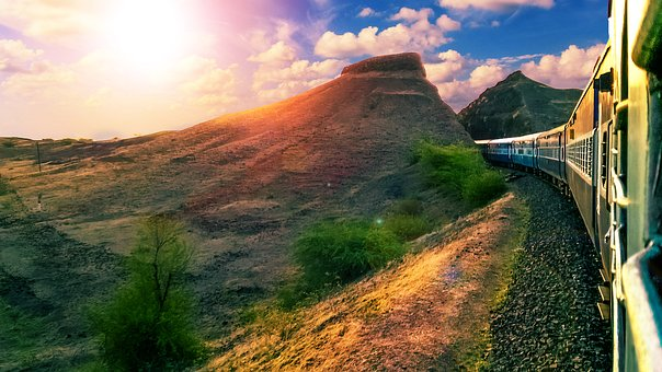Sky, Landscape, Railway, Indian Railways, Hills, Train