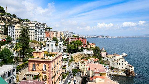 Italy, Naples, Beach, Water, Sea, Buildings, Waterfront