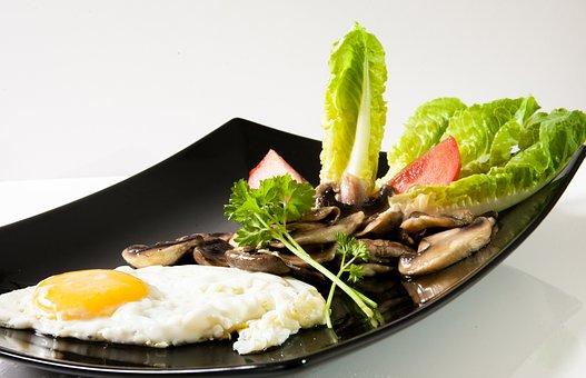 Vegetarian, Fried, Mushrooms, Salad, Tomatoes