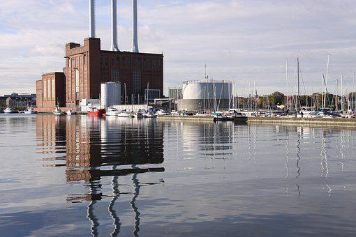 Power Plant, Chimneys, Reflections, Port, Sea, Denmark