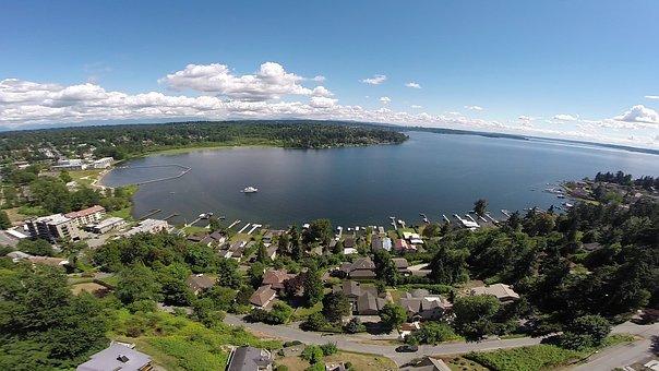 Drone, Kirkland, Washington, Aerial, Elevated, Houses