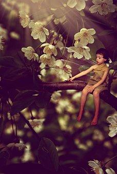 Boy, Flowers, Fantasy, Bug, Magic, Branch, Ant, Model