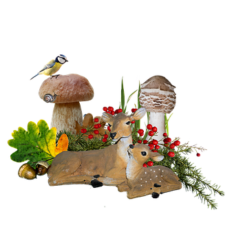 Autumn, Forest, Deer, Fawn, Blue Tit, Cep