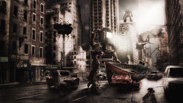 Destruction, Dark, Cyborg, End-of-the-world, Future
