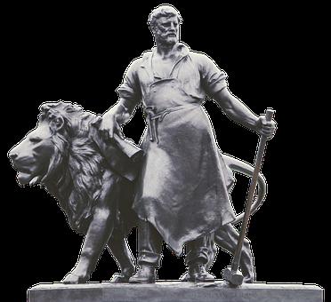Statue, Lion, Blacksmith, Monument, Hammer, Old, Bronze