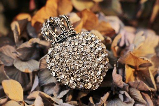 Heart, Crown, Rhinestone, Rhinestones, Rhinestone Heart
