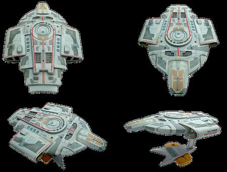 Space Ship Model, Star Trek, Uss Defiant, Isolated