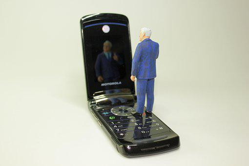 Miniature Figures, Cellphone, Mirror Image