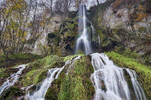 Waterfall, Autumn, Nature, Stones, Trees, Flow