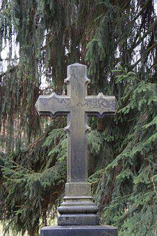 Cross, Old, Weathered, Old Cemetery, Mourning, Crosses