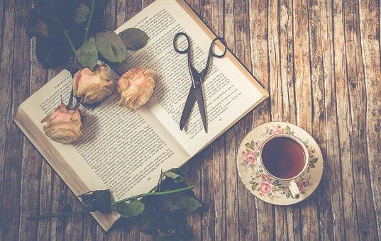 Tea, Scissors, Roses, Book, Petals, Rose Petals