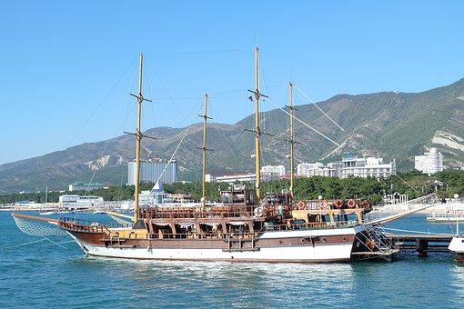 Ship, Frigate, Port, Sea, Sea port, Pier, Yachts, Bay