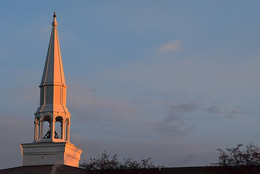 Sunrise, Church, Spire, Trees, Sky, Sunlight, Blue