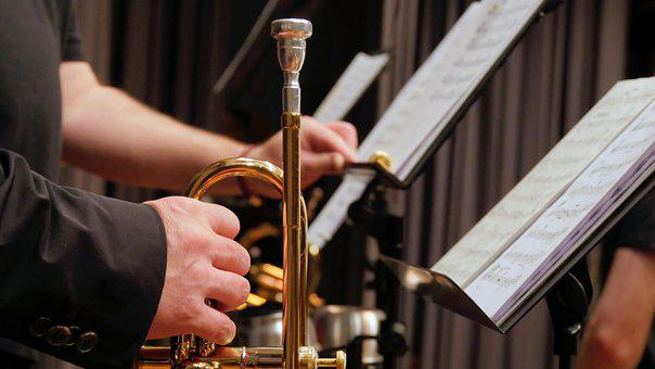 Trumpet, Music Stand, Music, Brass Band