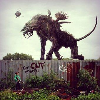 Monster, Postapokalipsis, Fence, Cyberpunk, Weapons