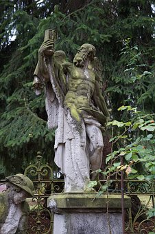 Figure, Old, Weathered, Cemetery, Decay, Commemorate