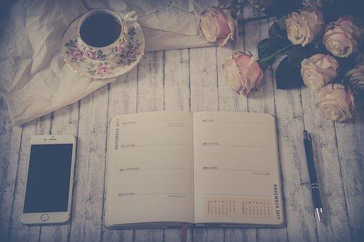 Still Life, Work, Agenda, Telephone, Tea, Roses