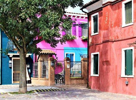 Venice, Burano, Architecture, Alley, Buildings