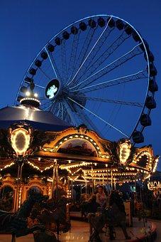 Park, Carousel, Chicago, Night
