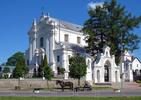 Baznica, Church, White, Catholic, Architecture