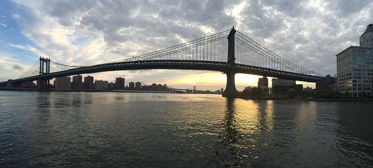 Bridge, Brooklyn, Brooklyn Bridge, Water, Cityscape