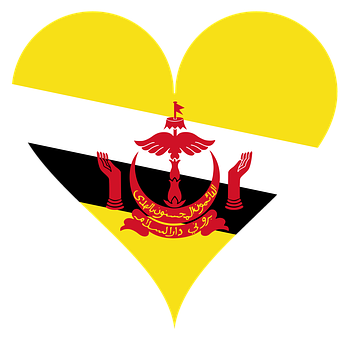 Heart, Love, Brunei, Flag, Hands, Asia, South East Asia
