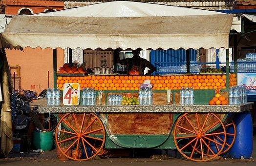 Street, Trader, Seller, Orange, Fresh, Juice, Marrakesh