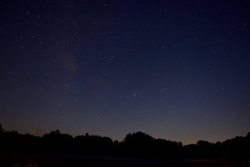 Night, Astrophotography, Space, Trees, Lake