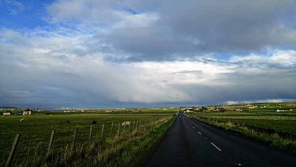 Scotland, Road, Pasture, Grass, Land, Freedom, Nature