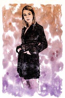 Watercolor, Ink, Digital, Model, Posing, Pose