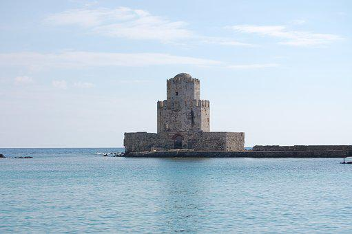 Castle, Methoni Castle, Greece, Coast, Sea