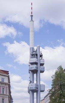 Tv Tower, Prague, Radio, Tower, Architecture, Signal